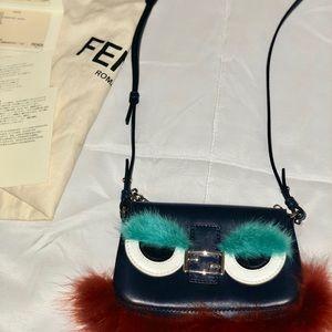 Fendi Bleu Bug Micro Baguette Clutch Bag Purse. a411878f764fc